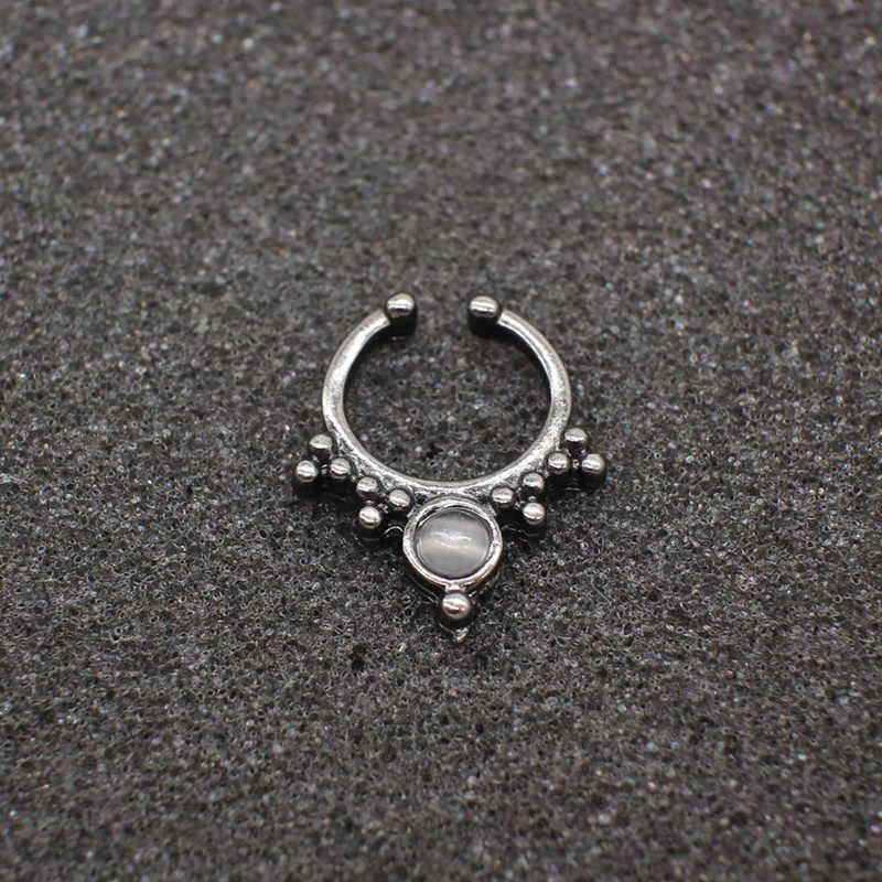 Новый комплект одежды из 3 предметов модная обувь, украшенная стразами черный имитация пирсинга кольцо в нос для Для женщин Клипса-обманка clicker не Титановые Украшения для тела