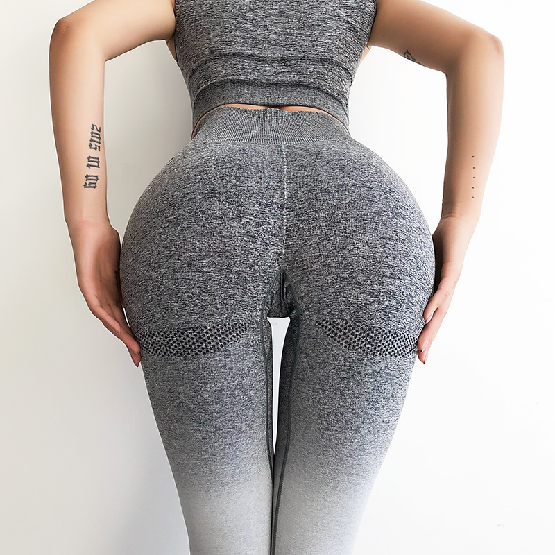 Womens high waisted ombre seamless yoga gym workout leggings squat proof