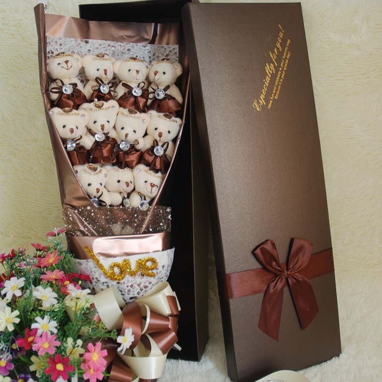 Lovely Bear Plush Toy Teddy Bear Gift with Box Gift Soft Stuffed Animal Dolls Stich Plush Bouquet Gift Box Birthday Gift For Kid huge lovely new plush teddy bear toy stuffed light brown teddy bear with bow birthday gift about 160cm