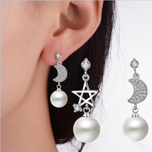 Everoyal New Fashion Female Star Moon Crystal Pearl Drop Earrings Jewelry Girls Trendy 925 Silver For Women