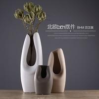 Chocolate color ceramic creative concise abstract flower vase pot home decor craft room decoration handicraft porcelain figurine