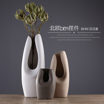 Chocolate color ceramic creative concise abstract flower vase pot home decor craft room decoration handicraft porcelain figurine