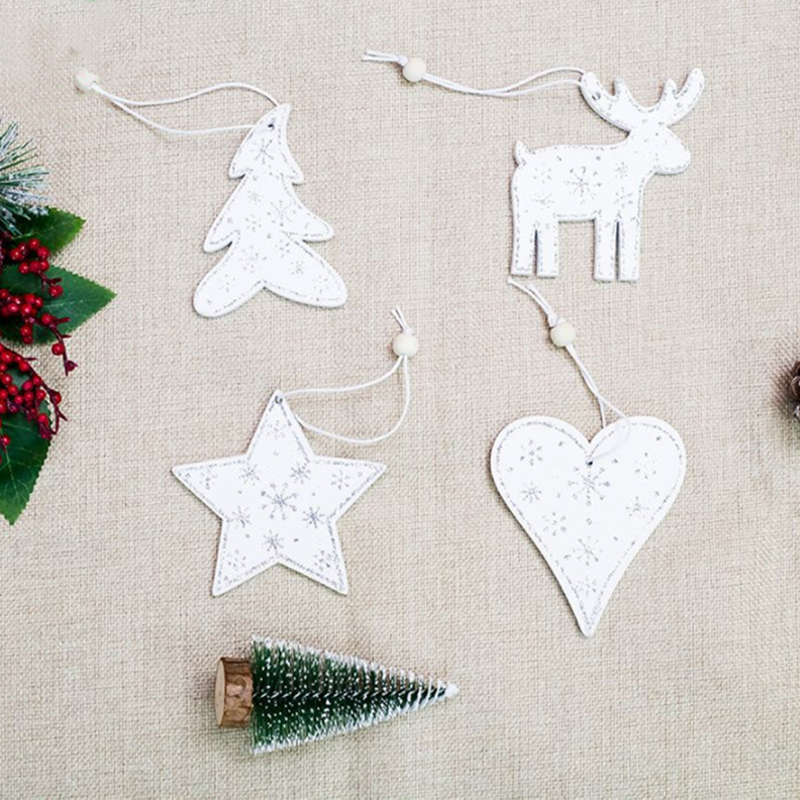 1PC White Color Wooden Christmas Tree Decorations Pendants Deer Heart Hanging Ornaments for New Year Party Home Decor