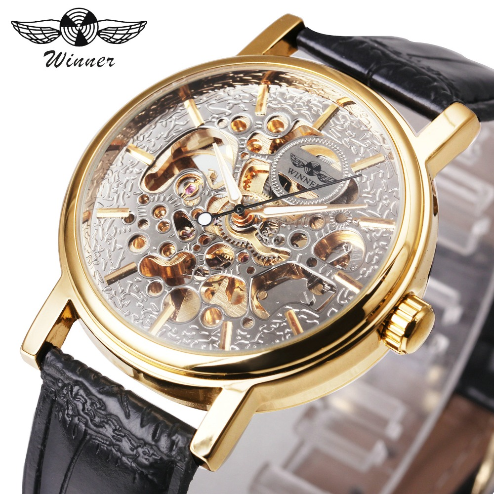 WINNER Top Brand Luxury Women Automatic Mechanical Watches Genuine Leather Strap Ladies Skeleton Wristwatches Luminous Hands winner women luxury brand skeleton genuine leather strap ladies watch automatic mechanical wristwatches gift box relogio releges