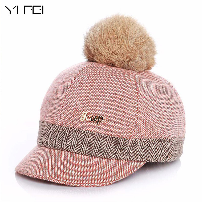 Warm Children Winter Baseball Cap 100% Real Rabbit Hair Ball Sports Golf Hat  Kid Winter 76a0f038a215