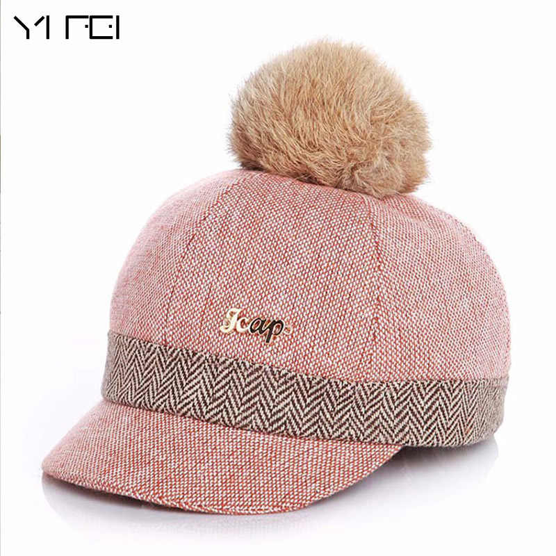 Warm Children Winter Baseball Cap 100% Real Rabbit Hair Ball Sports Golf  Hat Kid Winter 26664dccf248