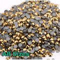 2058HF Aurum SS6 SS8 SS10 SS16 SS20 SS30 Strass Hot Fix Strass Hotfix Cor Cristal Colar de Ouro Pedras para roupas