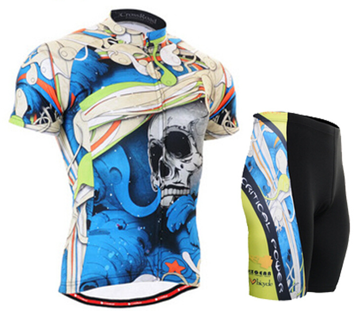 Brand Cycling Jerseys Sets Summer Mens Bike Short Sleeve Sports Bike Clothing Cycling Bicycle Jersey Sportswear Blue Skull кронштейн vogels vlb500