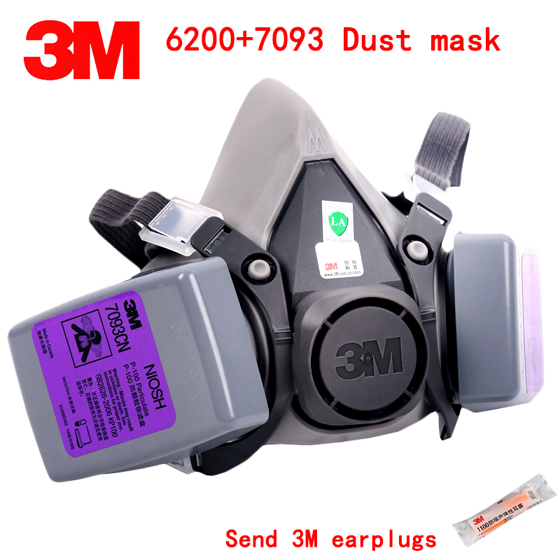 3M 6200+7093 respirator dust mask Genuine guarantee anti dust mask against Welding dust glass fiber Tiny particles dust mask 11 in 1 suit 3m 6200 half face mask with 2091 industry paint spray work respirator mask anti dust respirator fliters