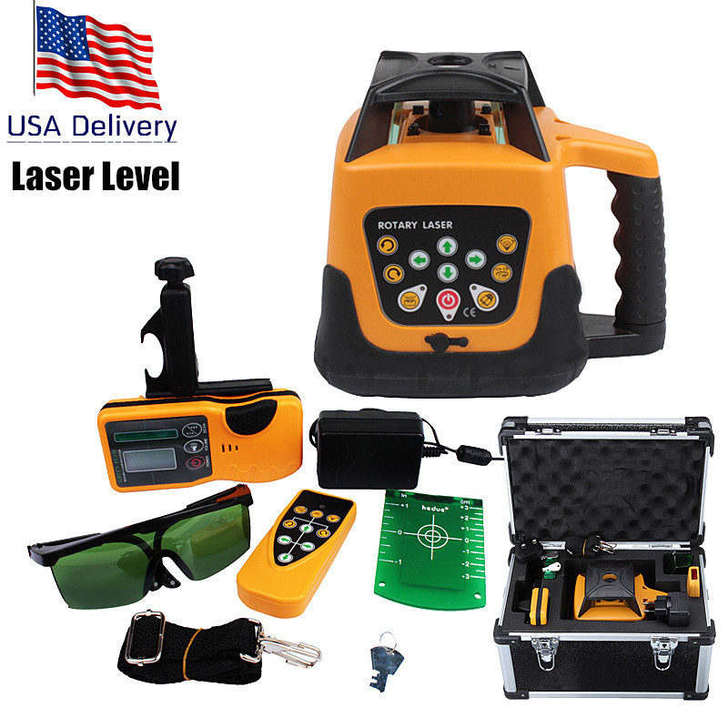 (Ship from US) Automatic Self-leveling Construction Rotary Laser Level Green Beam 500m Range & Remote Control Rechargeable ship construction