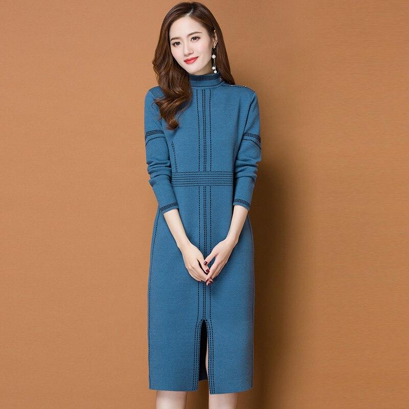 3XL marque robe automne hiver femmes nouveau tempérament Simple rayé tricot col roulé robe taille haute fente OL Commuter robe femme