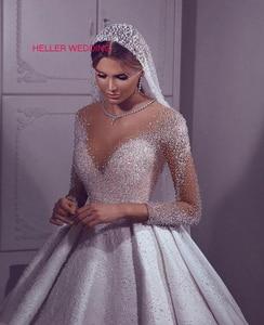 Image 1 - Vestido árabe luxuoso de casamento 2019, ilusão, pescoço, miçangas, vestido de baile, manga comprida, vestido de noiva