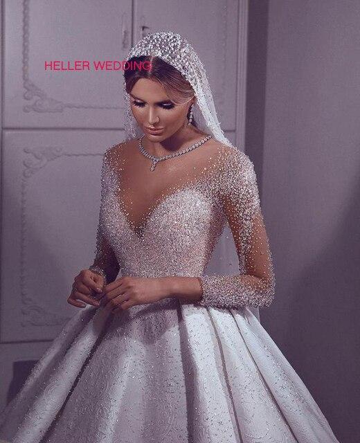 Vestido árabe luxuoso de casamento 2019, ilusão, pescoço, miçangas, vestido de baile, manga comprida, vestido de noiva