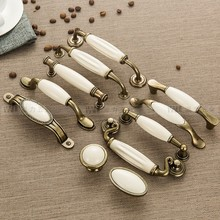 1 шт. ручки для выдвижных ящиков и дверные ручки для шкафа, мебельные ручки для шкафа, жесткая бронза, керамика, белый цвет