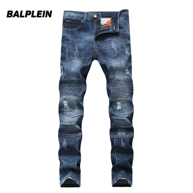Dark Blue Color High Street Fashion Mens Jeans Motorcycle Ripped Jeans Men Casual Pants Balplein Brand Vintage Biker Jeans Homme