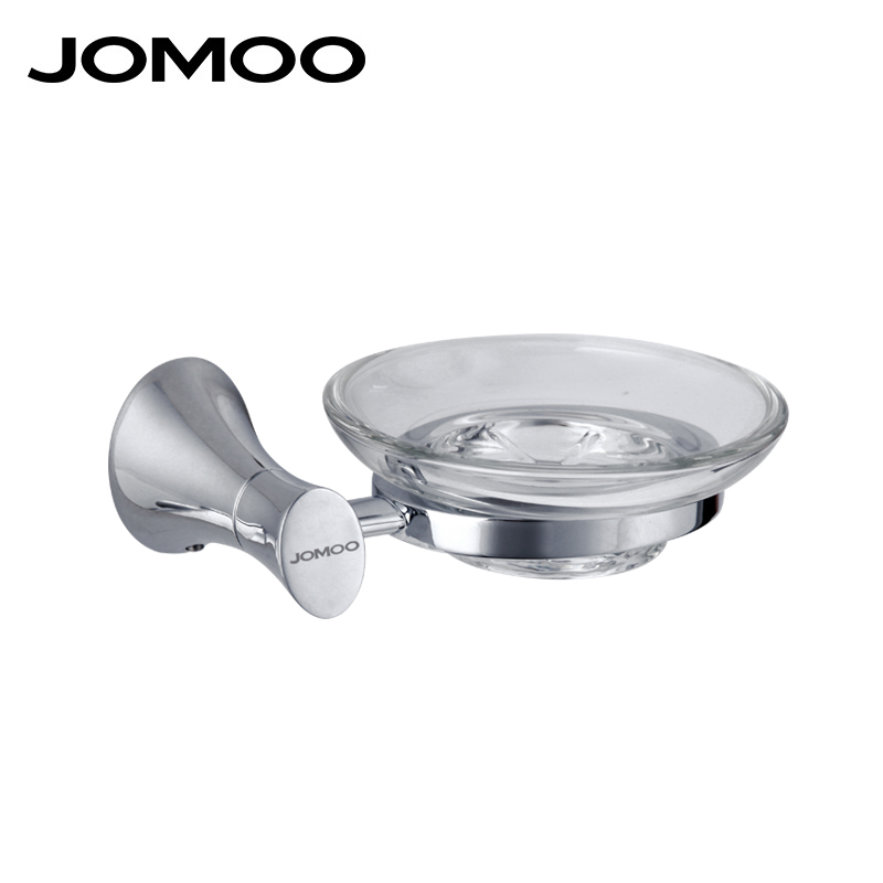 JOMOO Wall Mounted Soap Dish Zinc Alloy Chrome Soap Holder With Glass Dish Soap basket Bathroom Accessories Products Soap Box european black bronze soap network soap dish basket ceramic plate holder wall mounted bathroom accessories hardwares