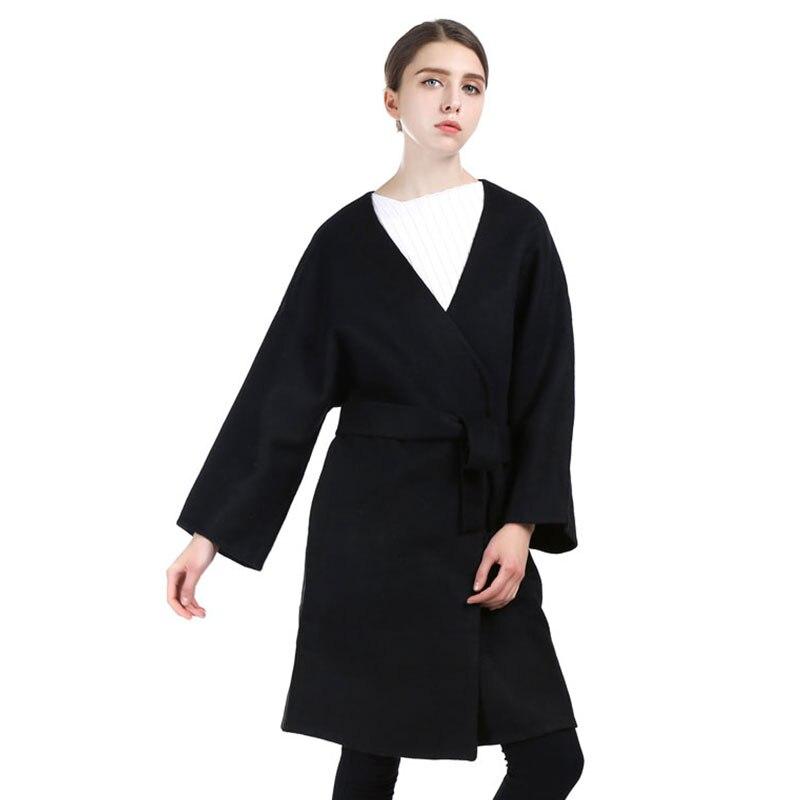 Tranchée Veste Casaco Kjylbeltblack Homme Noir Laine Manteaux Long Pardessus Manteau D'hiver 2017 Femmes Feminino De Cachemire Ceinture Nouveau F8ZRxxqw