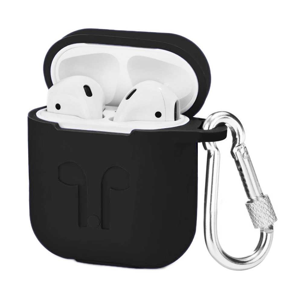 Besegad Silicone Titular Caixa de Proteção Shell Capa w/Keychain para Apple AirPods Ar Vagens 1 2 Acessório Fone de ouvido Sem Fio
