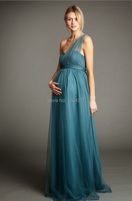 New Designers 2015 Pregnant Women One Shoulder Tulle Long ...
