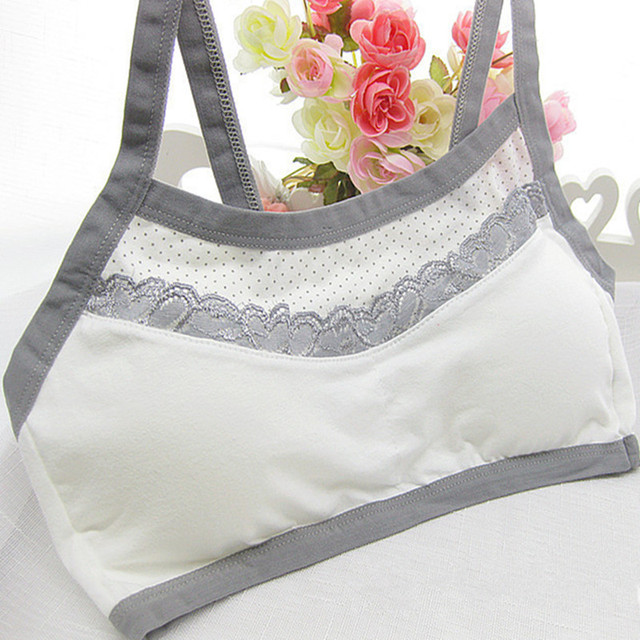 adcafede98032 Dots Teen Girl Training Bras Cute Cotton Comfortable No Rims Young Girls  Bras Fine Shoulder Lace Vest Type Training Bras