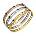Moda Banhado A Ouro Algarismos Romanos Mulheres Pulseira Aço Inoxidável 316L Brilhante Zirconia Montar Cuff Bracelet Para As Mulheres