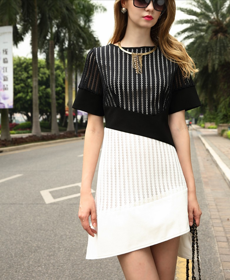 5702a529b081 Hot selling dresses women half sleeve girls sexy black clothing dress  office lady slim nice lace quality dress size M L XL  E304-in Dresses from  Women s ...