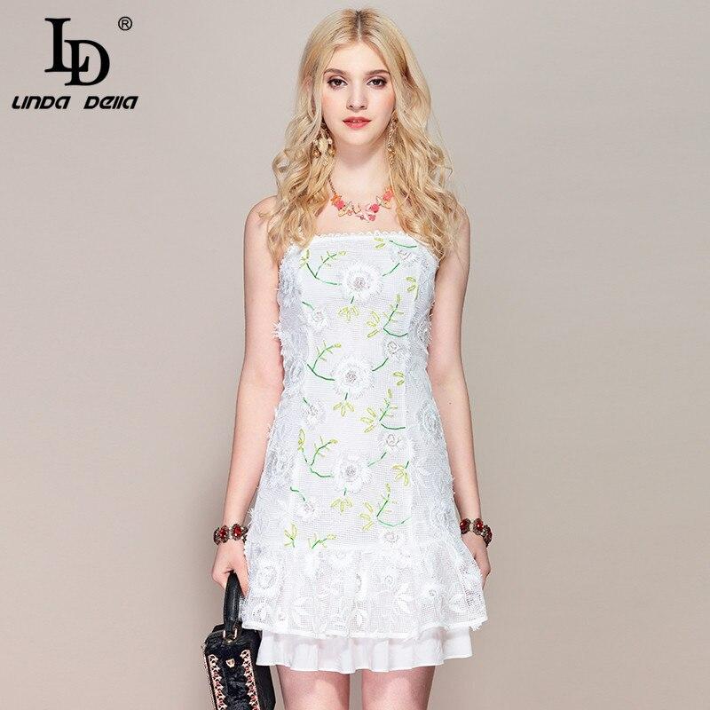 LD LINDA DELLA Casual White Hollow out Lace Mini Dress 2019218