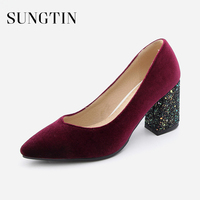 Sungtin Classic Wedding Party Pumps Velvet High Heels Women Sexy Bling Block Heel Pointed Toe Pumps Handmade Shoes Large Size