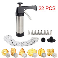 Stainless Steel Cookie Press Kit/Icing Decorating Gun Sets for Biscuit/Cake Decoration (22 Pieces) Cookie tools