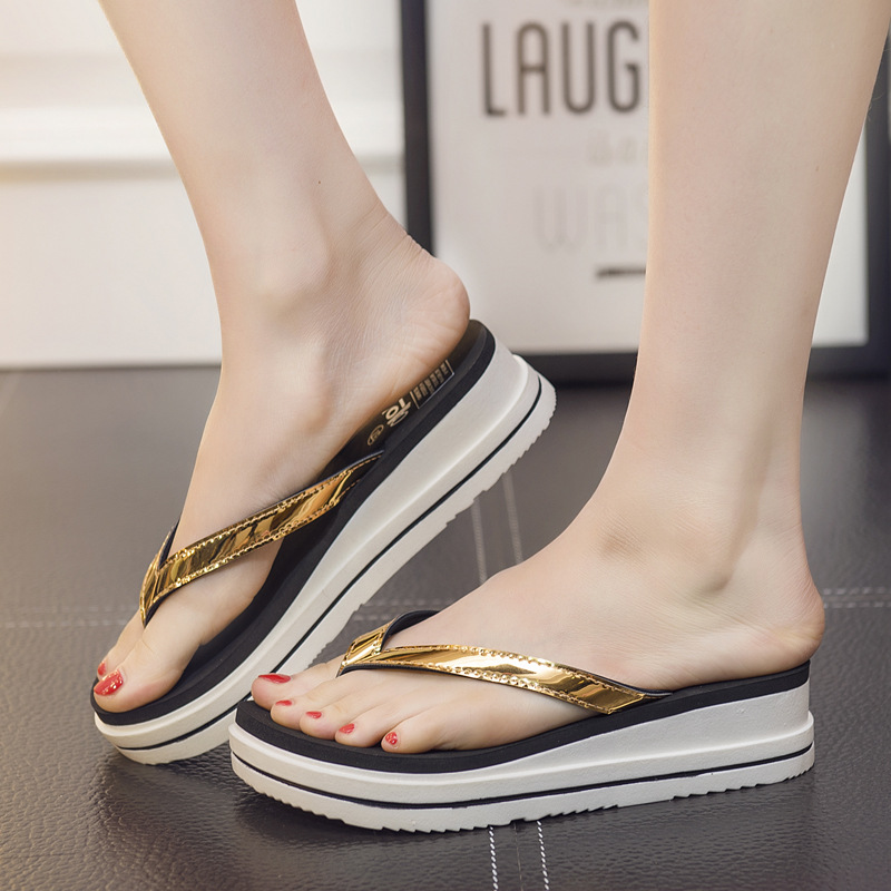 Kreativ Lackierten Ledernen Einfarbig Flip-flops Frauen Sommer Concise Marke Designer Plattform Hausschuhe Schuhe Frau Sterne Sandalen Femme