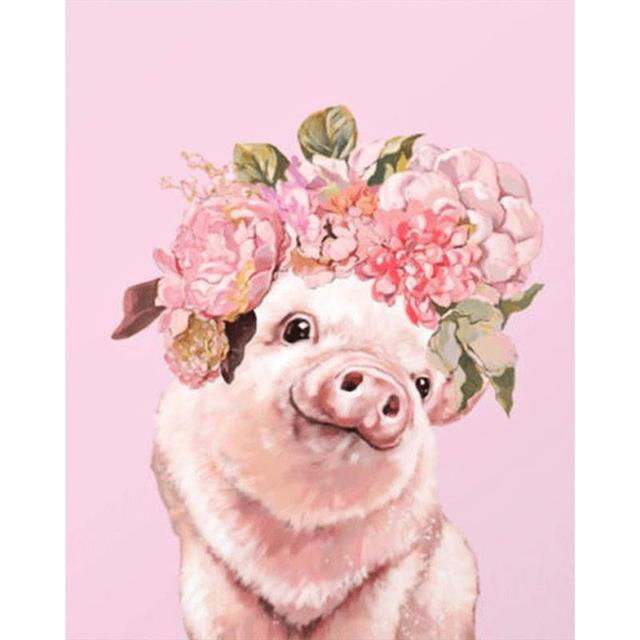 5d Diamond Painting Flower Pig Cross Sch Embroidery Rhinestones Mosaic Home Decor Kitchen Living Room