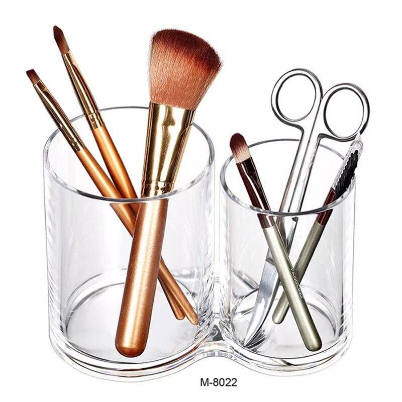 New 2/3 Lattice Nail Storage Case Transparent Makeup Pen Brushes Makeup Cotton Box Container Manicure Nail Desktop Tool