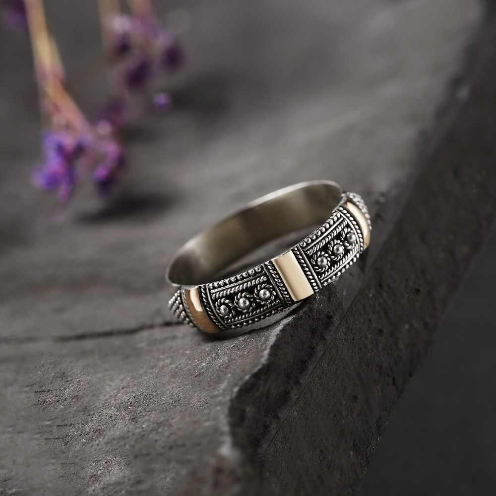 Bali Buatan Tangan Gaya Etnik Cincin untuk Wanita Pasangan Nyata 100% 925 Sterling Silver Vintage Cincin Asli Perhiasan