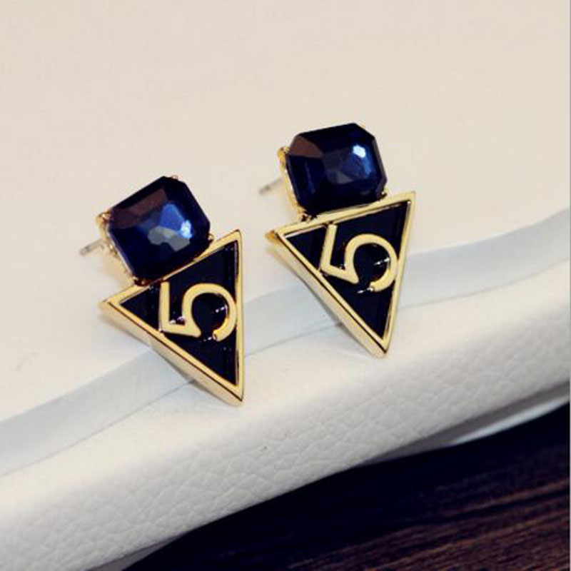 2017 High Quality Blue Crystal Letter Five Stud Earrings Gold Plated Wedding Jewelry Charms For Women