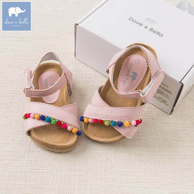 DB7017 Dave Bella summer baby girl sandals genuine leather shoes brand shoes