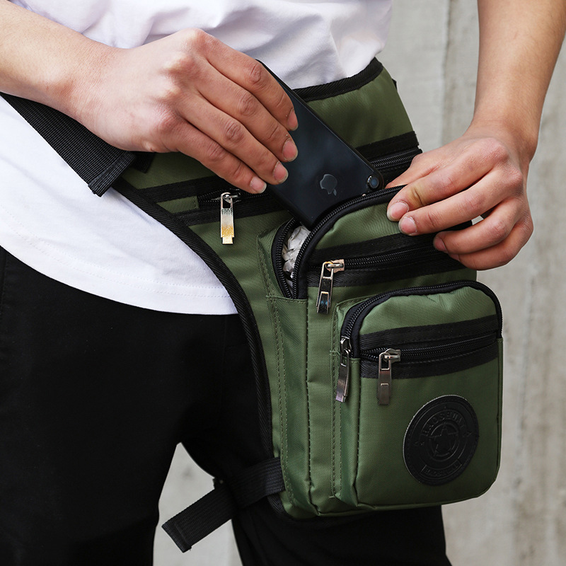 Waterproof Motorcycle Legsbag For Men Nylon Fanny Pack Boys Belt Hip Bags Dropleg Pocket Rider Waist Bags Solid Thigh Bag Male