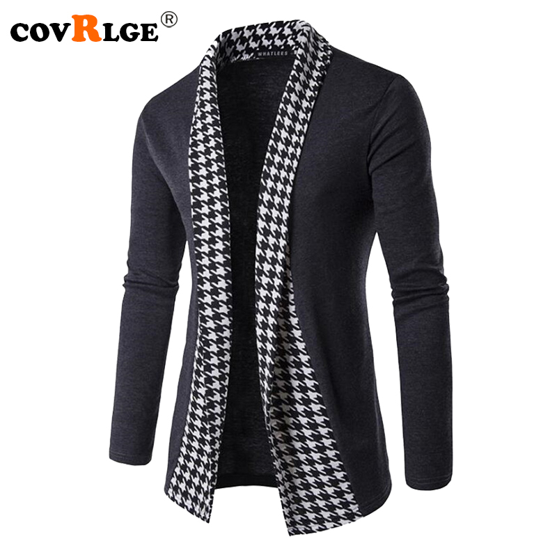 Covrlge New Autumn Winter Classic Cuff Knit Cardigan Men's Sweaters High Quality Men Knitted Coats Male Knitwears MZL046