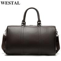 WESTAL men's travel bag leather duffle bag men'genuine leather laptop/weekend bag for men leather travel bags hand luggage 8706