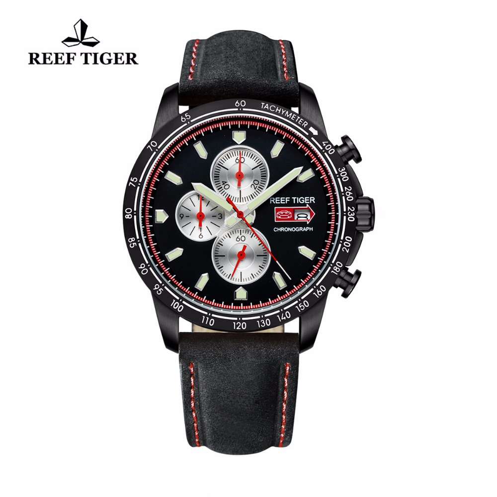 Reef Tiger/RT Sport Watch for Men Chronograph Quartz Watches with Date Steel Watch with Luminous Markers RGA3029
