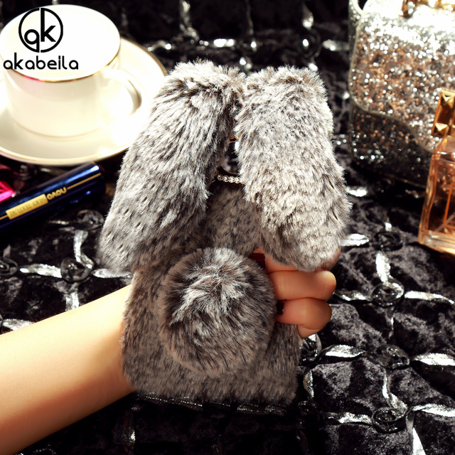 AKABEILA Fluffy Rabbit Fur Silicon Cases for Samsung Galaxy S7 G930 G9300 SM-G930A SM-G930R4 G930F G930W8 G930S Cover