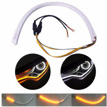 2x For VW VW Golf Passat CC Tiguan Scirocco Touareg POLO Flow Strip LED DRL Headlight Turn Signal Switchback Light Lamps(China)