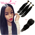 Best Brazilian Hair Vendors Brazilian Straight Hair With Closure 3 Bundles With Closure 8-30 Inch Mink Brazilian Hair Extensions