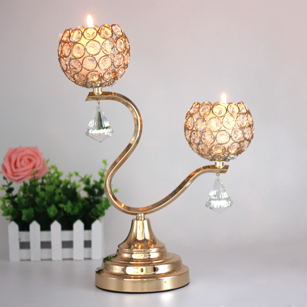 Candle holders crystal stand metal votive gold