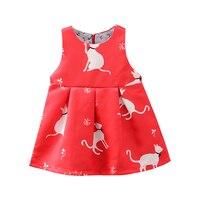 2017 Платье для девочек цветок милый кот принт Детское платье девушка Дизайнер Формальное вечернее платье Детская одежда От 1 до 3 лет