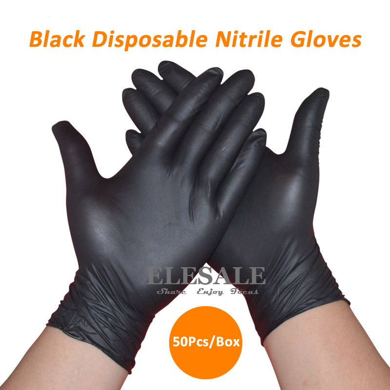 50Pcs/1ot Black Disposable Nitrile Gloves Powder Free Ambidextrous For Medical House Industrial Use Tattoo Gloves fwpp disposable nitrile gloves medical grade powder free latex free disposable non sterile food safe s m l black 50 pcs