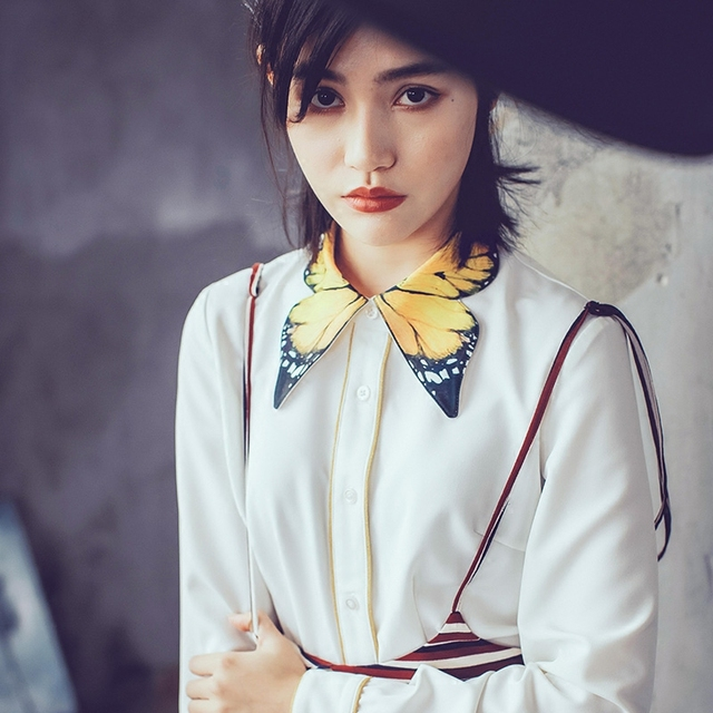 6f66b1dece1 LYNETTE S CHINOISERIE Spring Autumn New Arrival Original Design Women  Vintage Elegant Exquisite Butterfly Print Collar Shirt