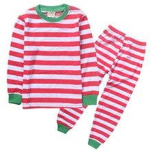 Baby Toddler Boys Girls Cotton Christmas Stripe Pajamas Kids Cute T-shirt+Pants Set Sleepwear