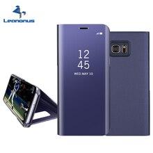 Leanonus чехол для Samsung Galaxy A3 A5 A7 2017 чехол Clear View Smart Cover для Samsung Galaxy A320 A520 A720 F зеркало откидная крышка