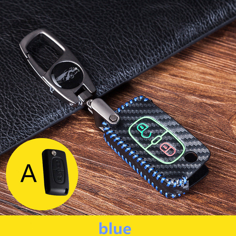 Car keychain key case for Citroen107, 206, 207, 208, 306, 307, 308, 407, 408, 508  C2 C3 C4 C5 Leather Hand knitting
