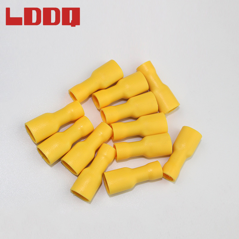 LDDQ 100pcs 12-10AWG Fully Insulated Spade Crimp Terminals Yellow Electrical Wire Connectors Car Audio Wiring High Quality